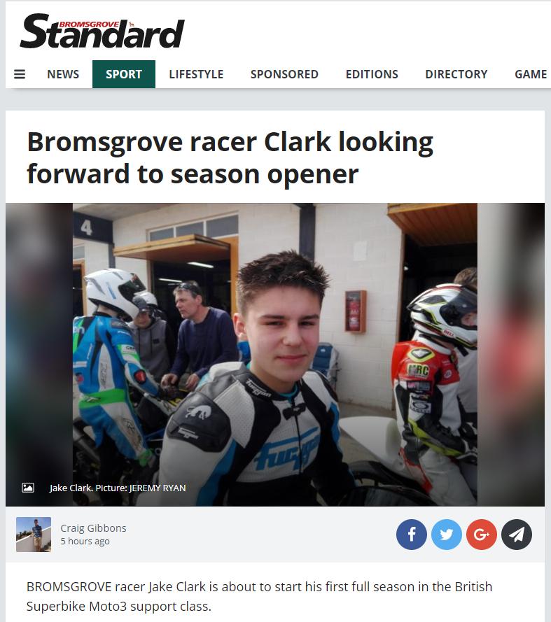 Jake Clark Bromsgrove Standard March 2018