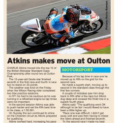 Charlie Atkins Motostar Oulton Park May 2018 Hull Daily Mail