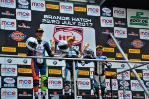 Charlie Atkins on the podium Motostar Brands Hatch GP July 2017