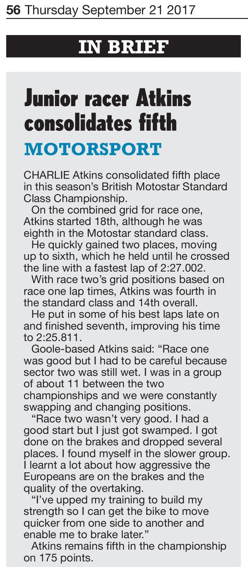 Hull Daily Mail Charlie Atkins Motostar Silverstone 2017