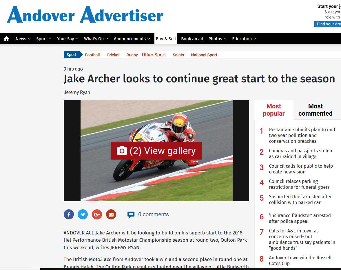 Jake Archer Andover Adveritser 02 May 2018