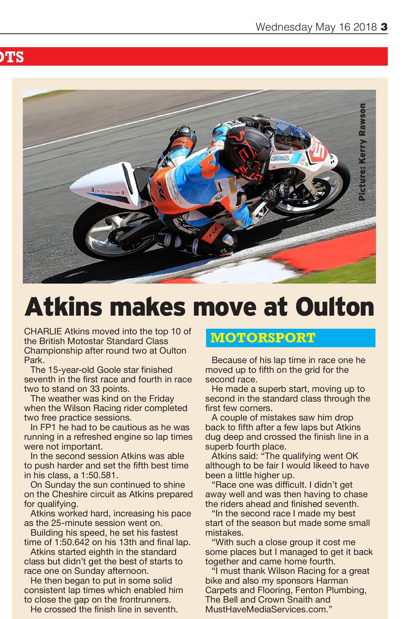 Charlie Atkins Motostar Oulton Park May 2018 Hull Daily Mail