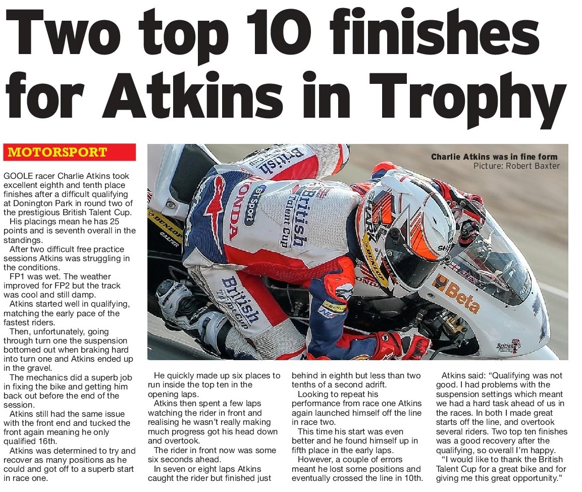 Charlie Atkins British Talent Cup Hull Daily Mail 6 June 2018