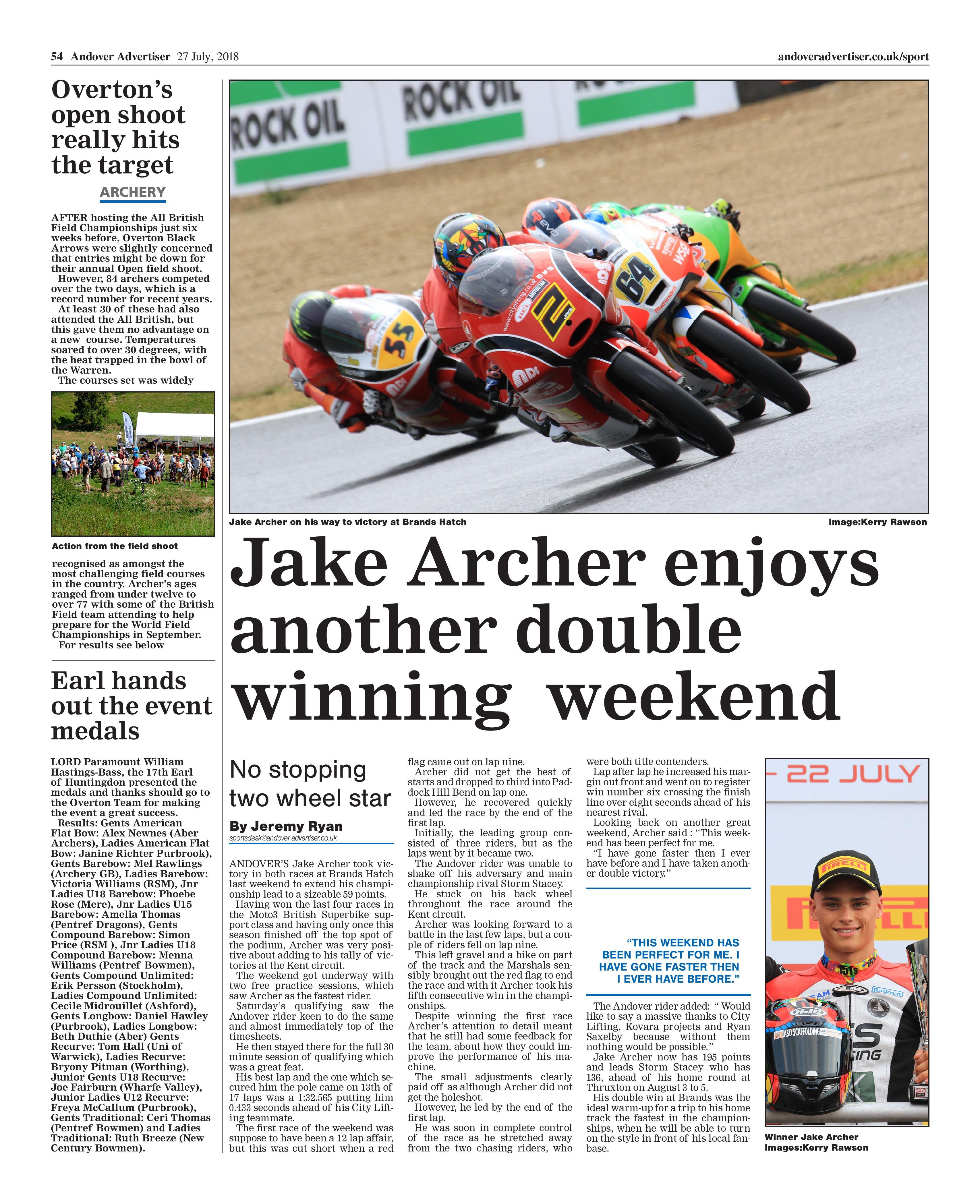 Jake Archer Motostar Brands Hatch GP July 2018