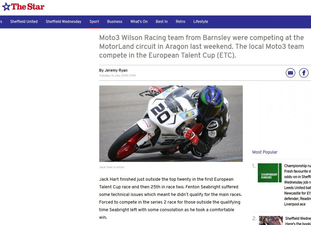Wilson racing Aragon newspapers reports #ETC #CEV