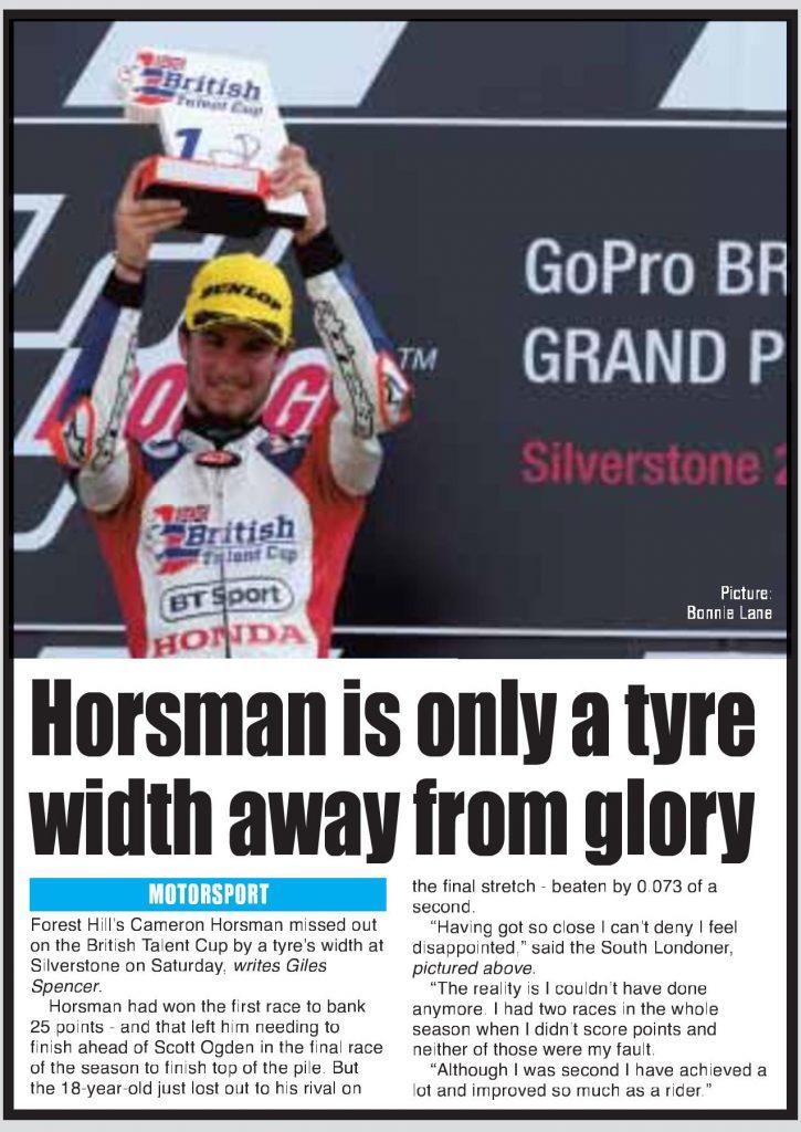 Cameron Horsman British Talent Cup Silverstone