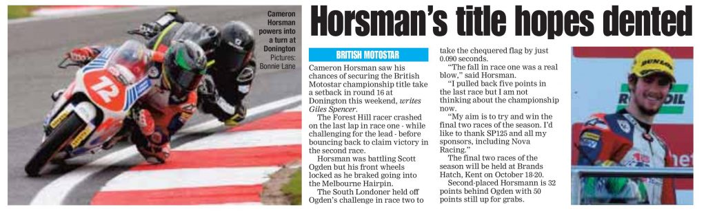 Cameron Horsman 11 October 2019 SLP Mercury