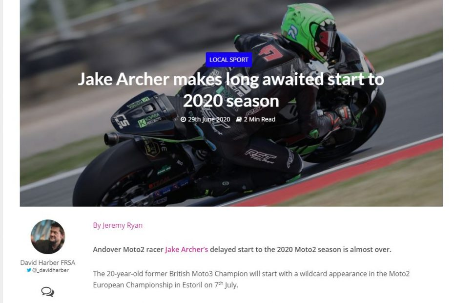 Jake Archer to make delayed start to 2020