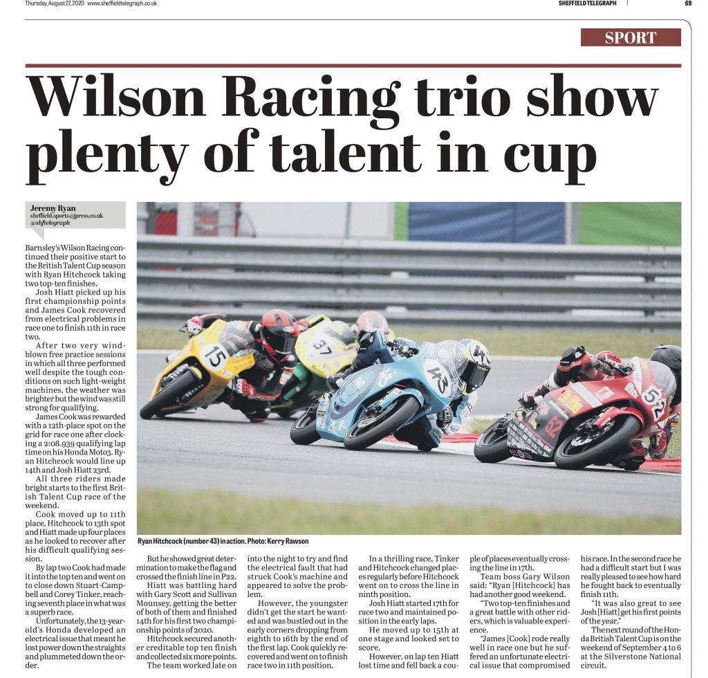Wilson Racing Sheffiled Telegraph 27/08/2020